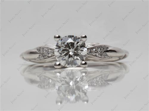 Platinum 0.90 Round cut Pave Ring Set