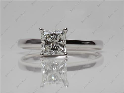 White Gold 1.00 Princess cut Diamond Rings