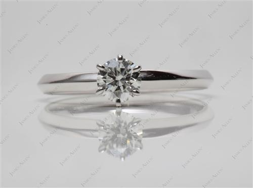 White Gold 0.32 Round cut Engagement Rings