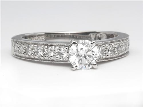 Platinum 0.51 Round cut Diamond Rings