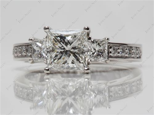 Platinum 1.50 Princess cut Three Stones