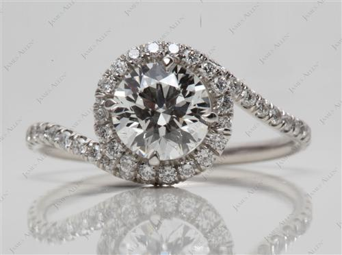 Platinum 1.13 Round cut Engagement Ring