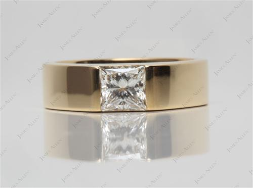 Gold 0.93 Princess cut Tension Diamond Rings