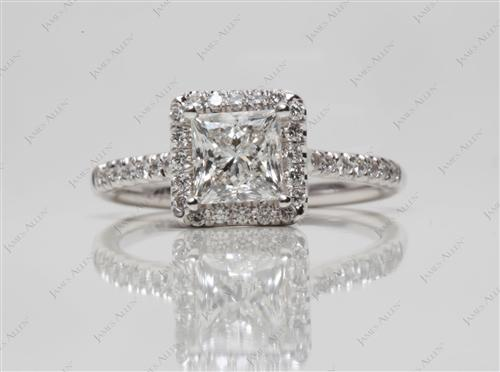 White Gold 1.01 Princess cut Pave Ring Settings