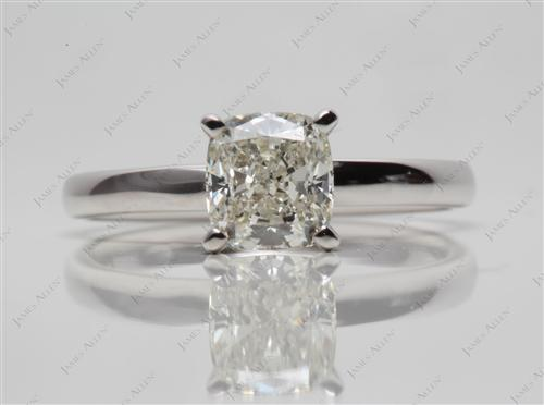 White Gold 1.01 Cushion cut Diamond Engagement Solitaire Rings