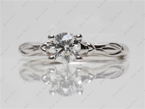 White Gold 0.74 Round cut Diamond Solitaire Rings