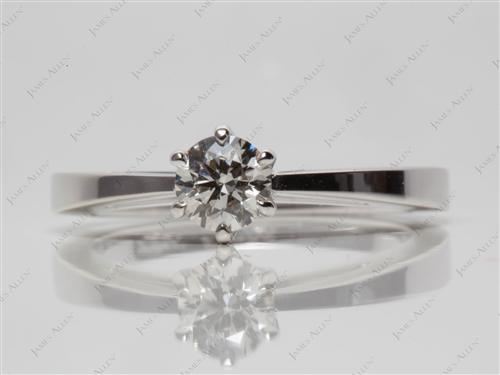 White Gold 0.53 Round cut Solitaire Diamond Ring