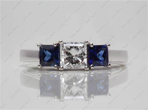 White Gold 0.75 Princess cut Emerald Rings
