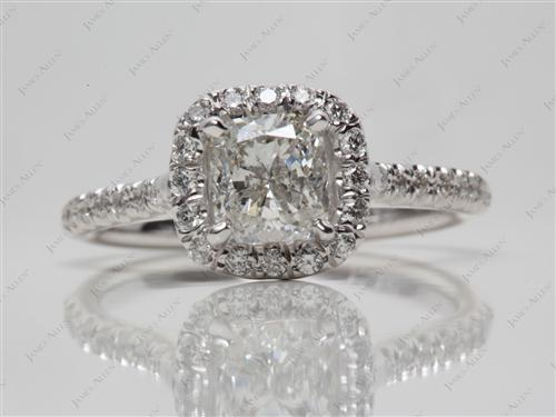 White Gold 1.01 Cushion cut Engagement Ring