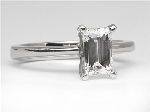 Platinum 1.05 Emerald cut Diamond Ring