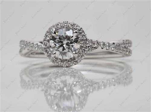 White Gold 0.60 Round cut Pave Setting Rings