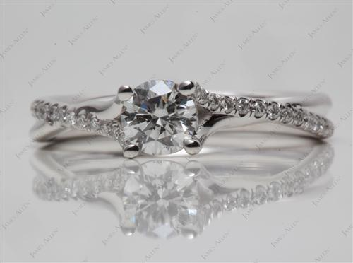 White Gold 0.50 Round cut Pave Diamond Engagement Ring