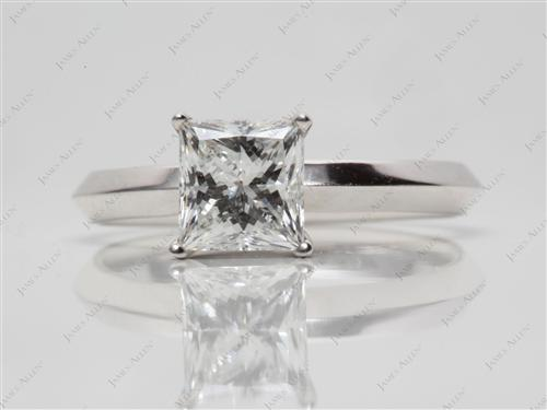 White Gold 1.38 Princess cut Solitaire Ring Mountings