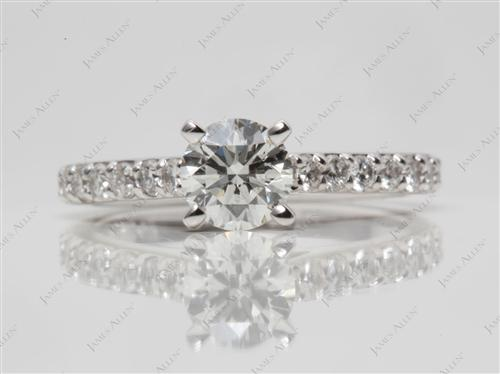 White Gold 0.70 Round cut Side Stone Engagement Ring