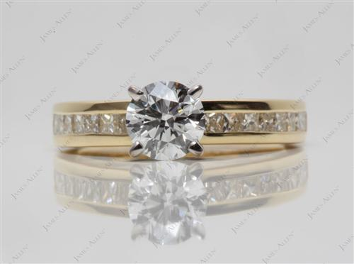 Gold 0.81 Round cut Channel Engagement Rings