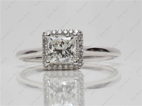 Platinum 1.11 Princess cut Pave Ring Set
