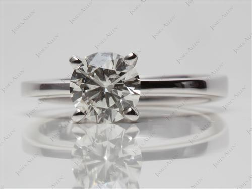 White Gold 1.01 Round cut Solitaire Rings