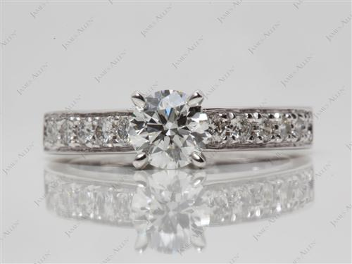 White Gold 0.77 Round cut Pave Diamond Rings