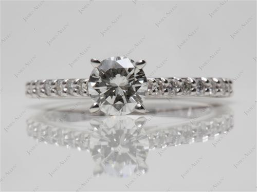 Platinum 0.54 Round cut Princess Cut Engagement Rings With Side Stones