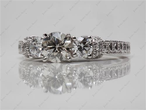 White Gold 0.64 Round cut Diamond Rings With Side Stones