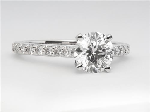 White Gold 1.02 Round cut Diamond Rings With Side Stones
