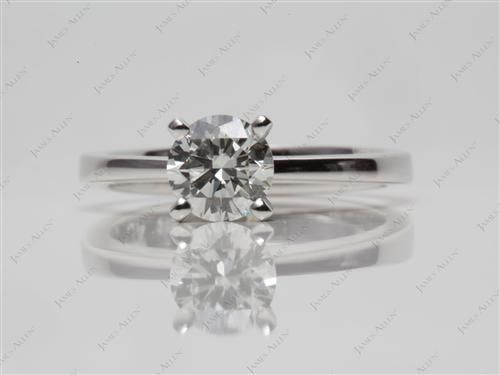 White Gold 0.72 Round cut Diamond Solitaire Rings