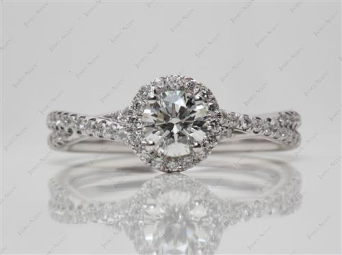 White Gold 0.54 Round cut Pave Diamond Rings