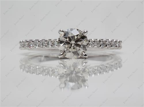 White Gold 0.73 Round cut Sidestone Engagement Ring
