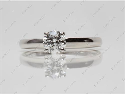 Platinum 0.50 Round cut Solitaire Engagement Ring