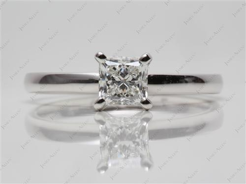 White Gold 0.72 Princess cut Diamond Solitaire Engagement Ring