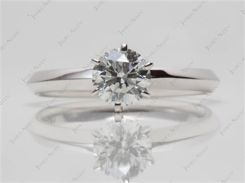 White Gold 0.50 Round cut Solitaire Engagement Ring