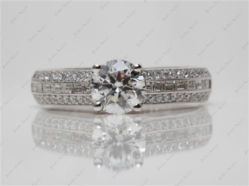 White Gold 0.82 Round cut Micro Pave Engagement Rings