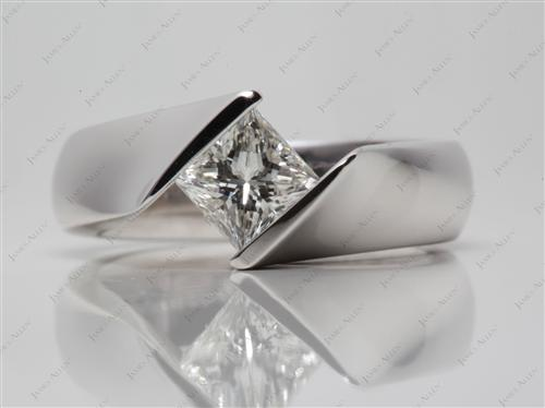 White Gold 1.00 Princess cut Tension Setting Engagement Rings