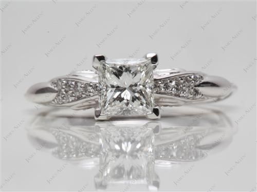 White Gold 0.77 Princess cut Pave Ring Settings