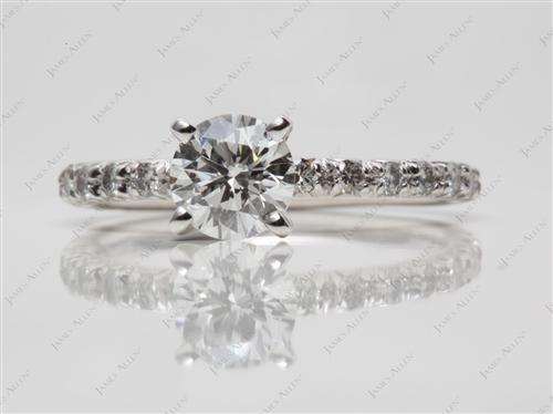 Platinum 0.80 Round cut Pave Ring Mountings