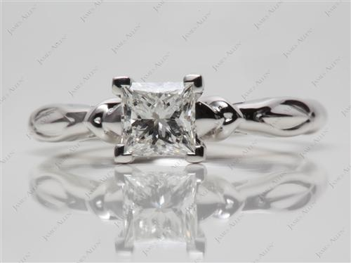 White Gold 0.71 Princess cut Solitaire Engagement Rings