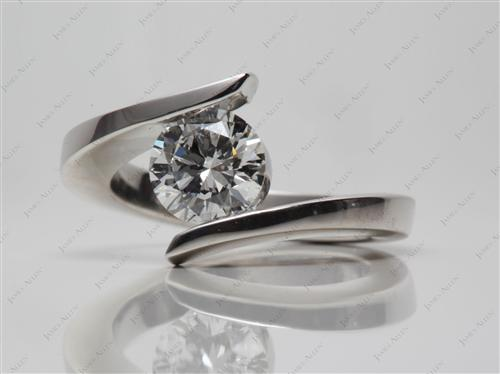Platinum 1.01 Round cut Tension Setting Engagement Rings