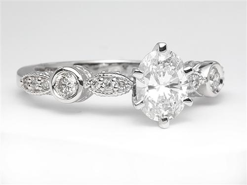 White Gold 0.83 Oval cut Engagement Ring Side Stones