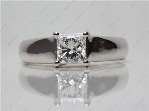 Platinum 1.00 Princess cut Solitaire Engagement Rings