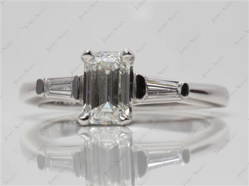 Platinum 1.00 Emerald cut Side Stone Engagement Ring