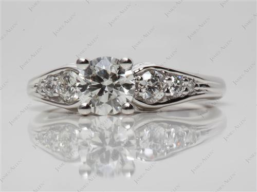 White Gold 0.71 Round cut Engagement Ring With Side Stones
