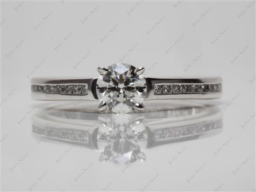 Platinum 0.53 Round cut Channel Setting Engagement Ring