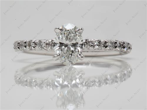White Gold 0.60 Oval cut Pave Diamond Ring