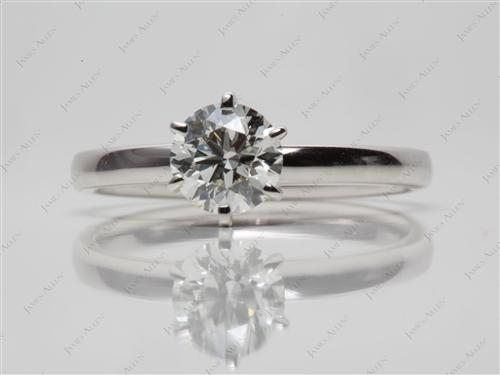 White Gold 0.80 Round cut Diamond Solitaire Rings