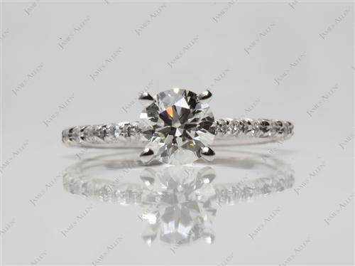 White Gold 0.79 Round cut Pave Ring Setting
