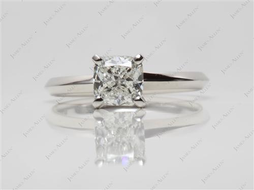 Platinum 0.91 Cushion cut Diamond Solitaire Rings