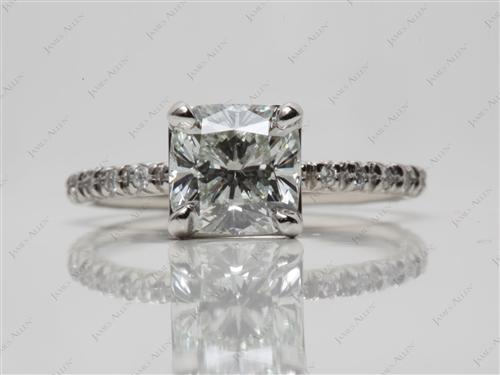 Platinum 1.60 Cushion cut Pave Ring Setting