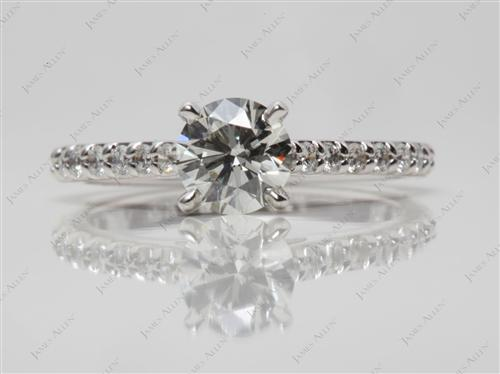 White Gold 0.70 Round cut Engagement Ring With Side Stones