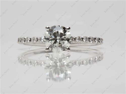 White Gold 1.41 Round cut Engagement Ring