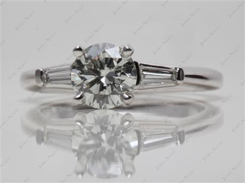 Platinum 1.00 Round cut Diamond Ring With Sidestones